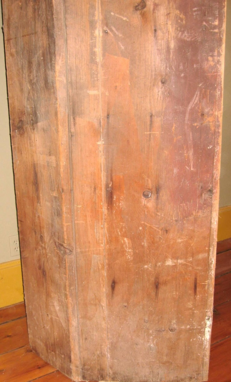 1850s Corner Cupboard Rustic Farm House Pine Cabinet For Sale 12