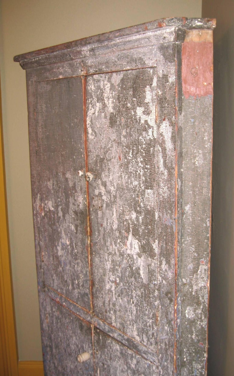 19th Century 1850s Corner Cupboard Rustic Farm House Pine Cabinet For Sale