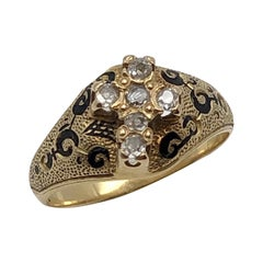 1850s Early Victorian Gold Enamel and Diamonds Cross Form Ring