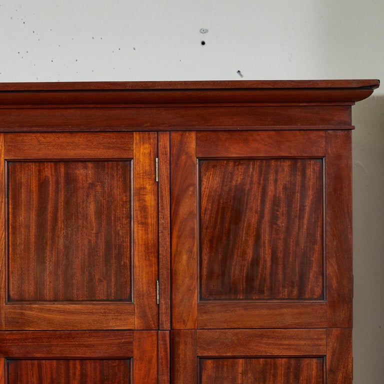 19th Century 1850s English Mahogany Estate Desk with Molded Cornice Upper Cupboard For Sale