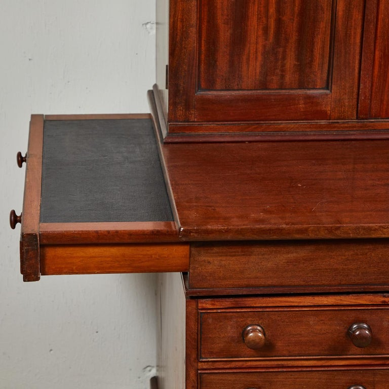 1850s English Mahogany Estate Desk with Molded Cornice Upper Cupboard For Sale 1