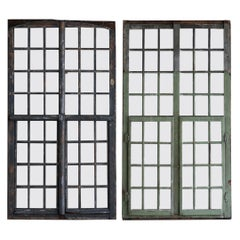 1850s French Painted Wood and Glass Window