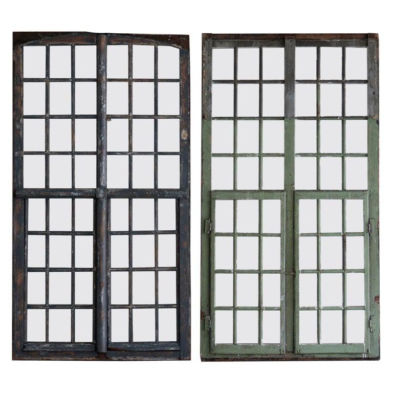 09020 Piece of French vintage window  door cream net panel 192cm x 90cm G