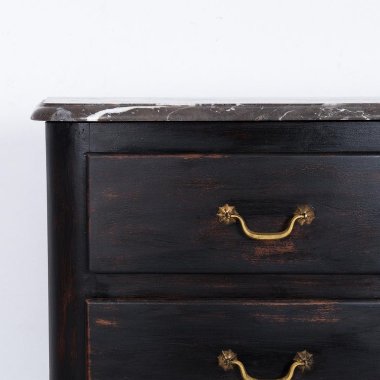 Bronze 1850s French Wood and Marble Chest of Drawers For Sale