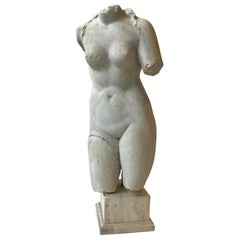 1850s Italian Carved Marble Female Torso