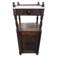 1850s Italian Nightstand Carrara Marble Special Design Solid Carved Walnut