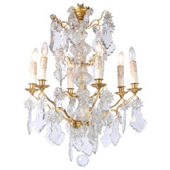 1850s Napoleon III Six-Light Crystal and Brass Chandelier with Pendeloques