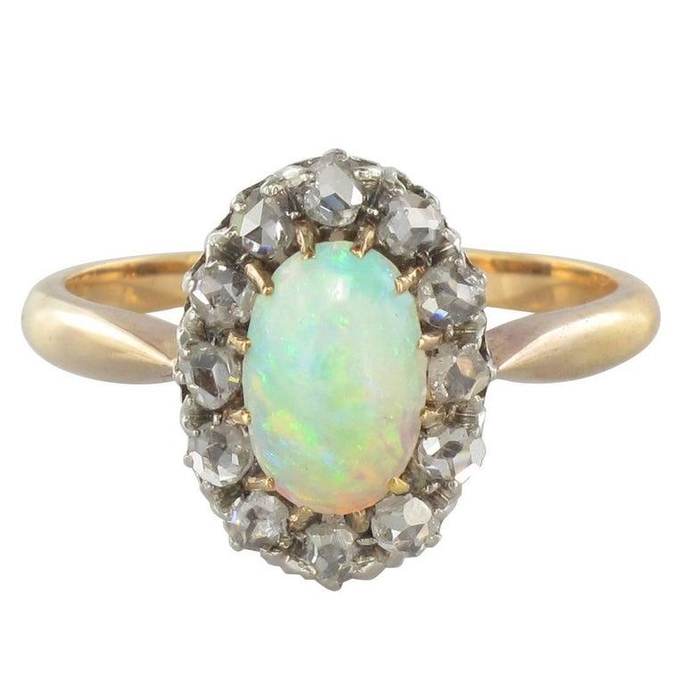 1850s Australian Opal Diamond Rose Gold Cluster Ring