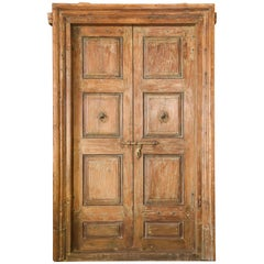 1850s Solid Teak Wood Entry Door from a Colonial Mansion in Agra Cantonment
