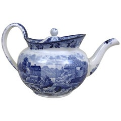 1850s Victorian Blue and White Earthenware Boat Shaped Teapot Made in England