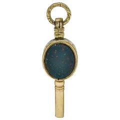 1850s Victorian Citrine Bloodstone Gold Watch Key Fob Pendant Charm