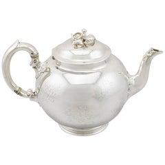 1852 Antique Victorian Sterling Silver Teapot by Robert Garrard II