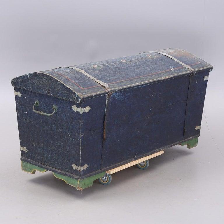 Gustavian 1853 Swedish Chest Blanket Box Original Polychromatic Jamtland Paint Finish Blue