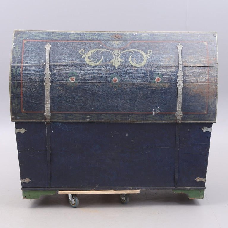 Hand-Painted 1853 Swedish Chest Blanket Box Original Polychromatic Jamtland Paint Finish Blue