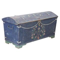 1853 Swedish Chest Blanket Box Original Polychromatic Jamtland Paint Finish Blue