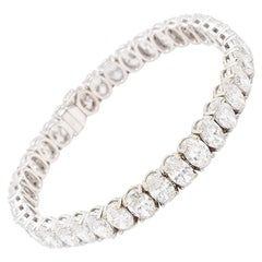 18.54 Carat Oval Cut Diamond Tennis Bracelet, GIA Certified D-F SI1-SI2