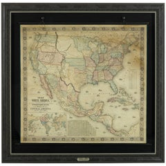 1854 Map of Partial North America, Antique Wall Map by Jacob Monk