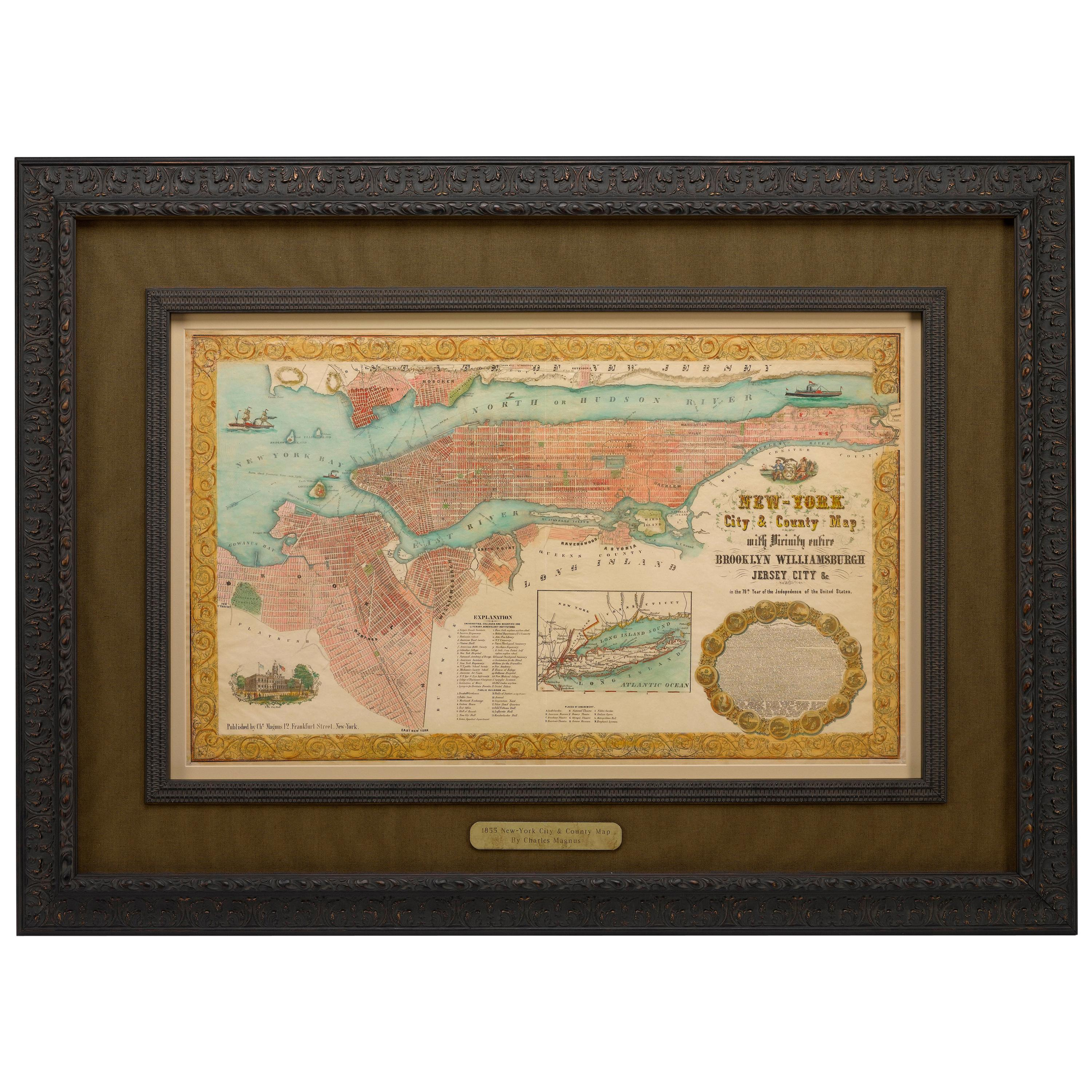"""Antique Map of """"New-York City & County"""" by Charles Magnus, 1855"""