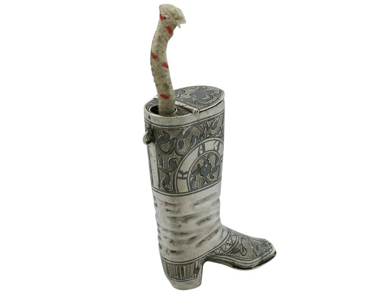Mid-19th Century 1855 Antique Russian Silver 'Boot' Vesta Case and Taper Holder For Sale