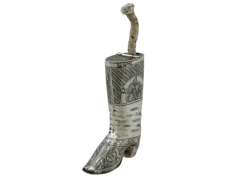 1855 Antique Russian Silver 'Boot' Vesta Case and Taper Holder For Sale 1