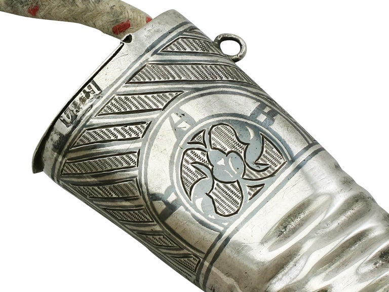 1855 Antique Russian Silver 'Boot' Vesta Case and Taper Holder For Sale 4