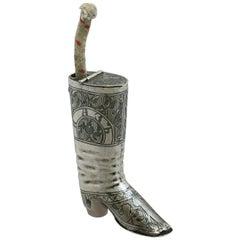 1855 Antique Russian Silver 'Boot' Vesta Case and Taper Holder