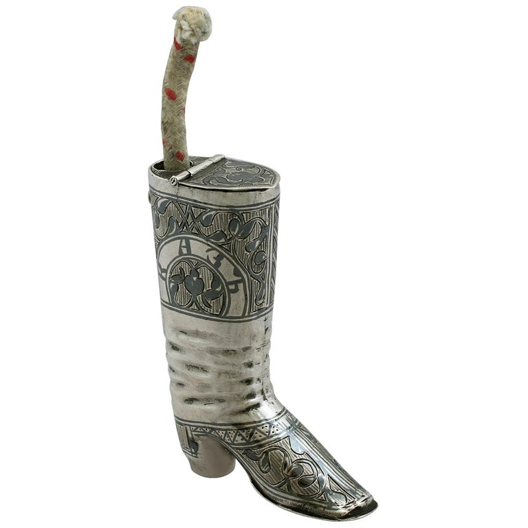 1855 Antique Russian Silver 'Boot' Vesta Case and Taper Holder For Sale