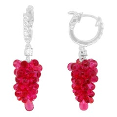 18.55 Carat Briolette Red Spinel and Round White Diamond Grape Earrings 14K Gold