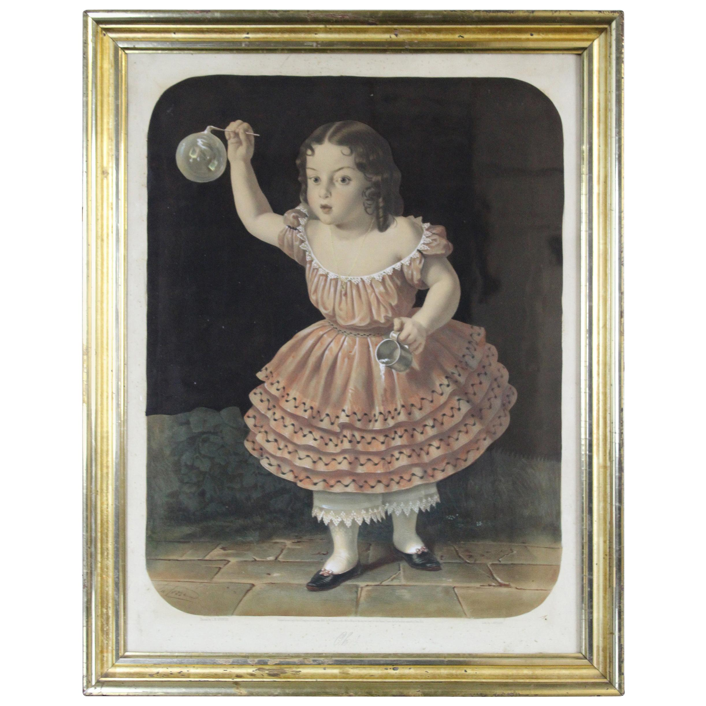 "1856 Antique William Schaus Chromolithograph Print ""Oh!"" Bubble Girl Lafosse"