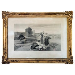 1856 Nicolas Poussin Lithograph in Original Giltwood Frame