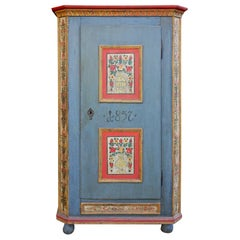 1857 Blue Floral Painted One Door Cabinet