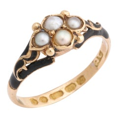 1858 Gold Enamel Pearl Daisy Mourning Ring