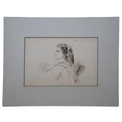 1859 Antique French Emile Dupont Original Ink Painting Drawing Portrait