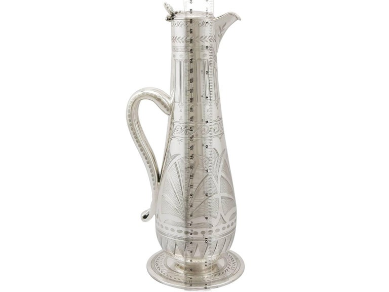 1859 Antique Victorian Aesthetic Style Sterling Silver Claret Jug For Sale 7