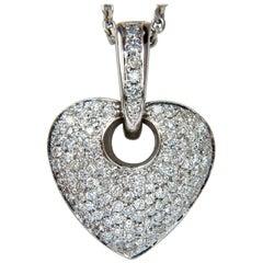 1.85CT Natural Diamond Modified Mod Dangle Heart Pendant Bead Set 18KT VS