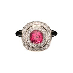 1.85ct Vibrant Pink Sapphire Ring w/ Diamond Double Halo in Platinum by Hancocks
