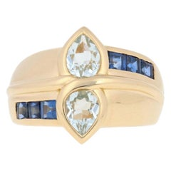 1.85ctw Pear Cut Aquamarine & Sapphire Ring, 18k Yellow Gold