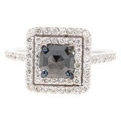 1.86 Carat Black Diamond White Diamond 14 Karat White Gold Engagement Ring