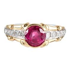 1.86 Carat Burma No Heat Ruby and Diamond Ring