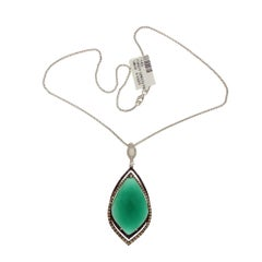 1.86 Carat Diamond 18 Karat Gold Onyx Pendant 14 Karat Gold Chain Necklace