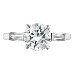 1.86 Carat DSI1 GIA Certified Round Diamond with Tapered Baguettes