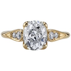 1.86 Carat GIA Certified Cushion Cut Diamond in an 18 Karat Yellow Gold Ring