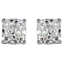 1.86 Carat H VS2-SI1 Old Mine Cut Diamond Stud Earrings Eye Clean Earrings