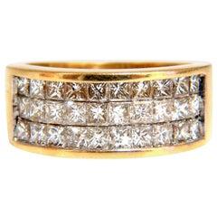 1.86 Carat Natural Princess Cut Diamonds Triple Channel Band 14 Karat