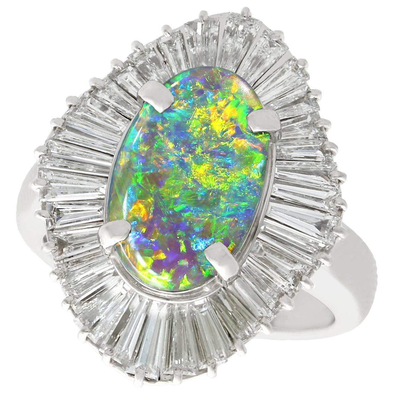 1.86 Carat Opal and 3.22 Carat Diamond Platinum Cocktail Ring