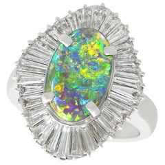 1.86 Carat Opal and 3.22 Carat Diamond Platinum Cocktail Ring