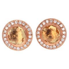 1.86 Carat Round Cut Citrine Diamond 14 Karat Rose Gold Earring Studs
