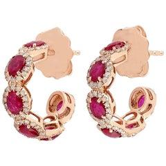 1.86 Carat Ruby 14 Karat Gold Diamond Hoop Earrings
