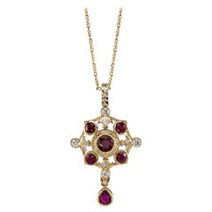 1.86 Carat Ruby and Diamond 18k Yellow Gold Pendant