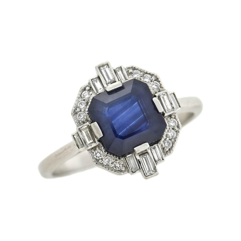 1.86 Carat Sapphire + Diamond Gemstone Engagement Ring